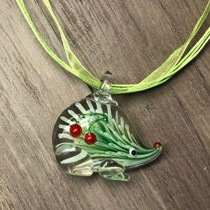 New Murano like glass green Hedgehog pendant